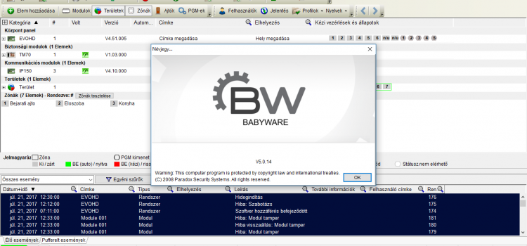 BabyWare program frissítés 5.0.14
